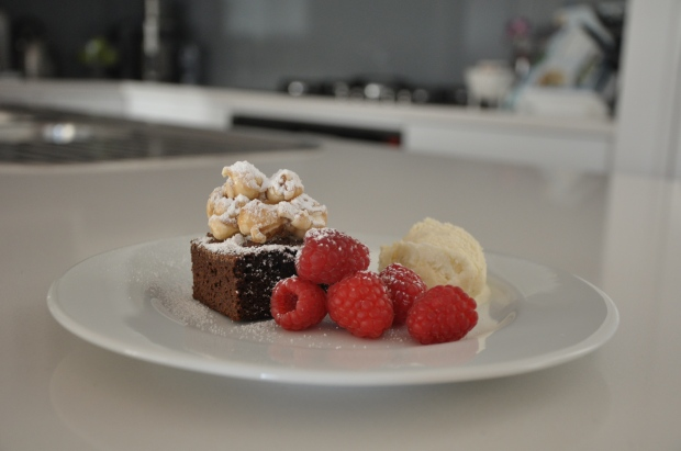Brownie Dessert, with Raspberries, Caramel Popcorn and Vanilla Bean Ice Cream