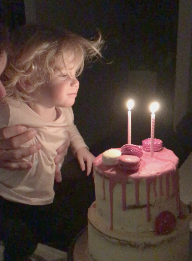 Ellie blowing out the candles